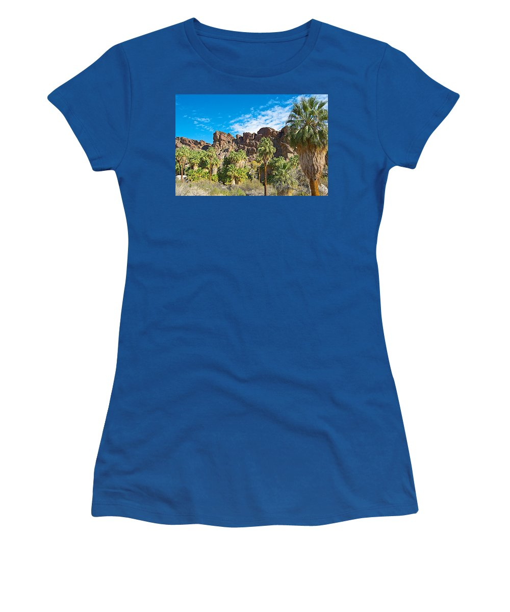 Second Largest Stand Of Fan Palms In The World In Andreas Canyon In Indian Canyons Women's T-Shirt featuring the photograph Second Largest Stand Of Fan Palms In The World In Andreas Canyon In Indian Canyons-ca by Ruth Hager