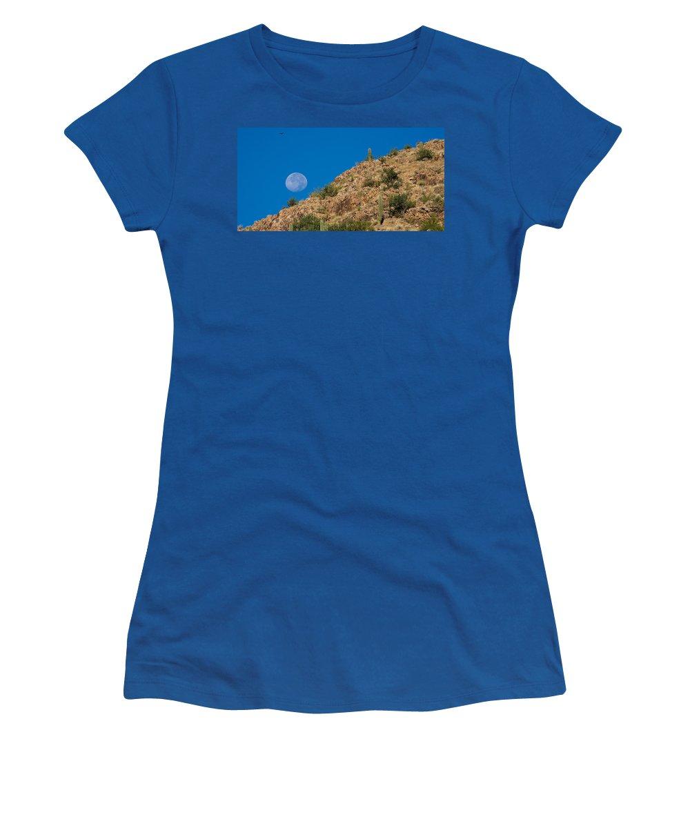 Arizona Women's T-Shirt featuring the photograph Setting Moon by Randall Ingalls