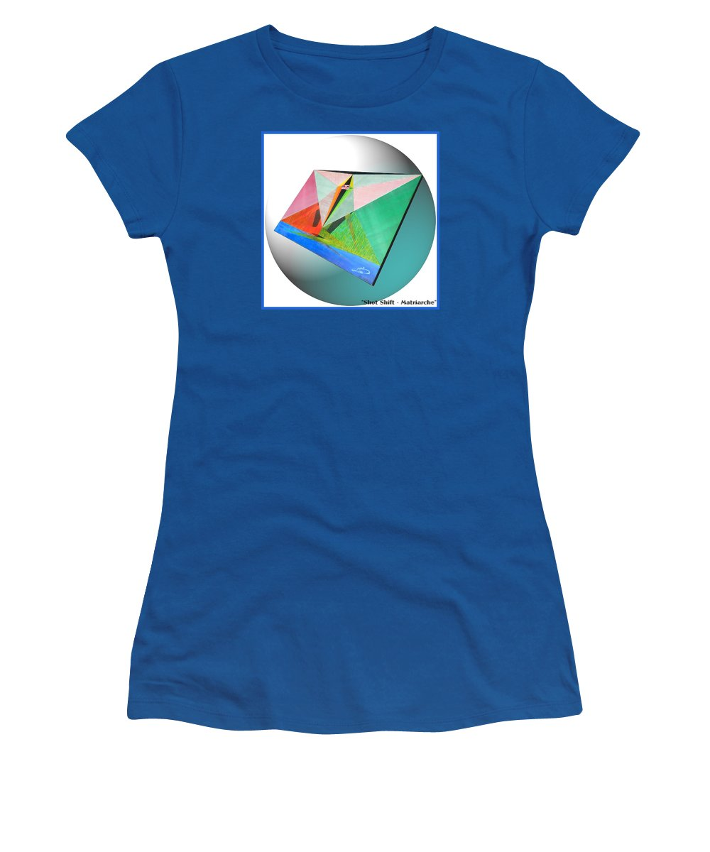 Shot Women's T-Shirt featuring the painting Shot Shift - Matriarche Variant by Michael Bellon