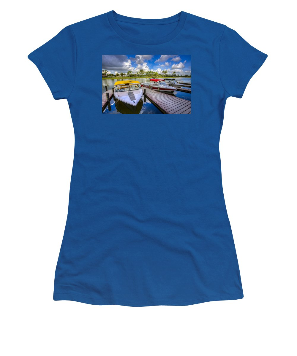 Boats Women's T-Shirt featuring the photograph Ski Nautique Boats by Debra and Dave Vanderlaan