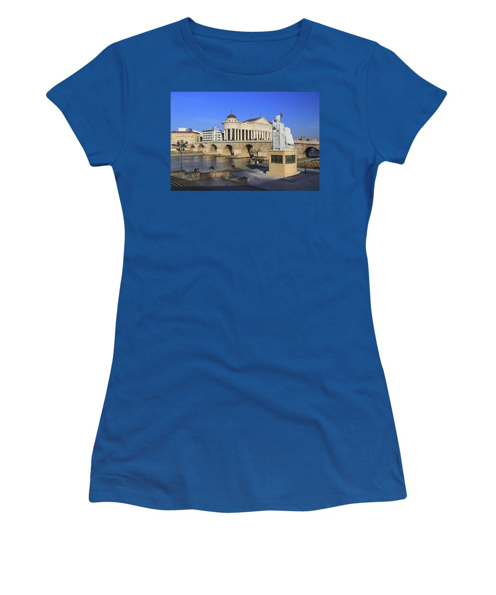 Archaeological Women's T-Shirt featuring the photograph Skopje City Center Macedonia by Ivan Pendjakov