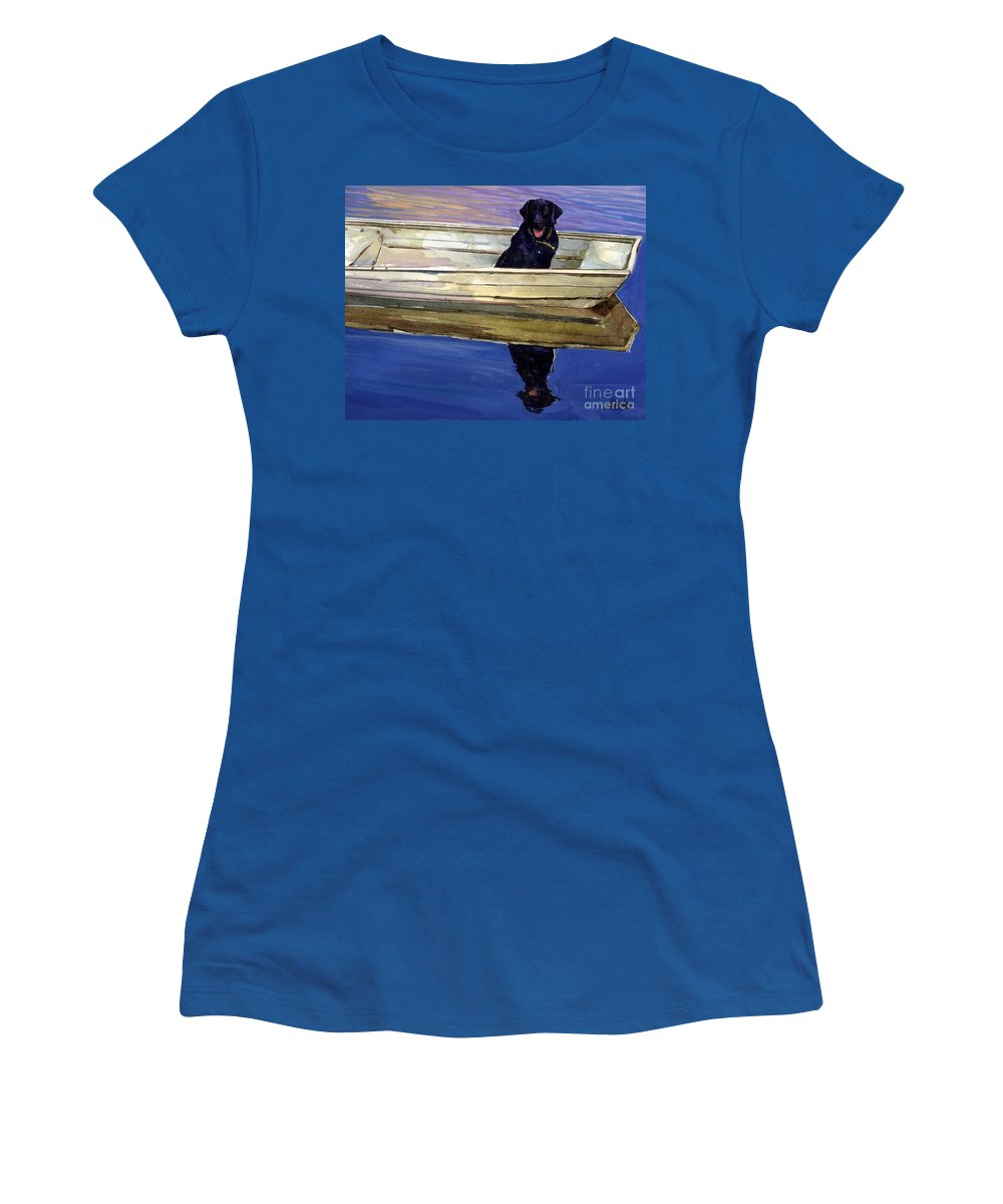 Black Lab Women's T-Shirt featuring the painting Slow Boat by Molly Poole