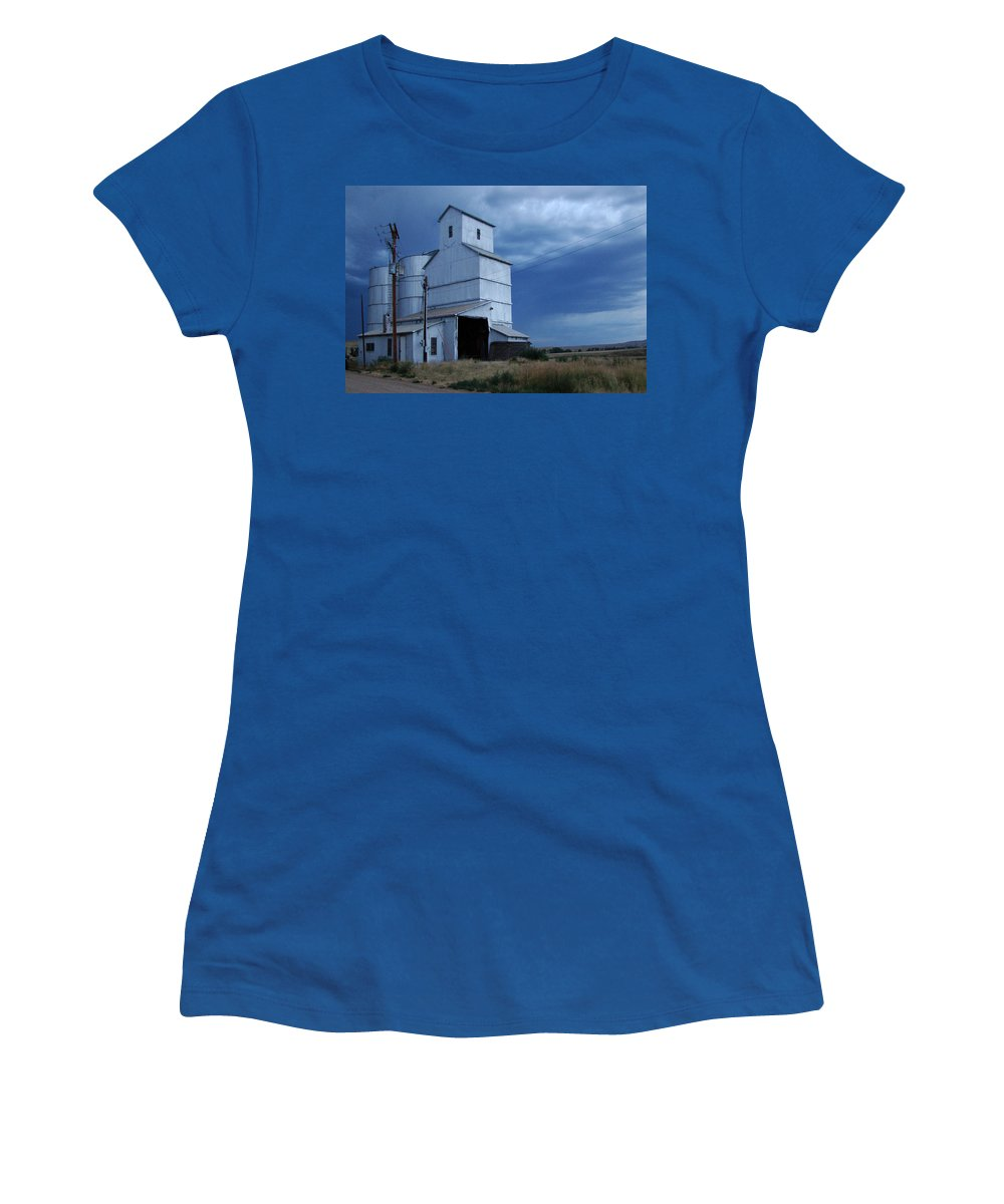 Photograph Women's T-Shirt featuring the photograph Small Town Hot Night Big Storm by Cathy Anderson