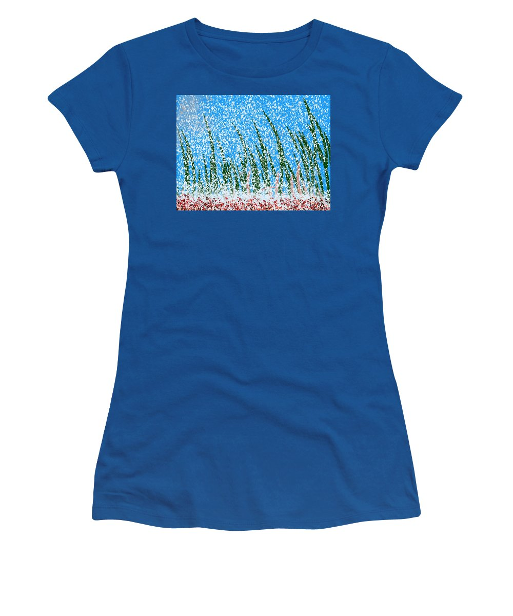 Snow Women's T-Shirt (Athletic Fit) featuring the painting Snowy Lawn On A Sunny Day by Bill Minkowitz