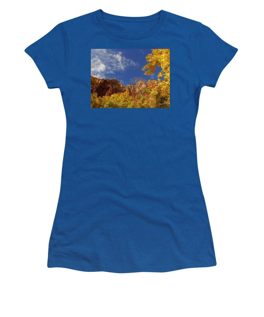 Tree Women's T-Shirt featuring the painting Somewhere Over The Mountains by Bruce Nutting
