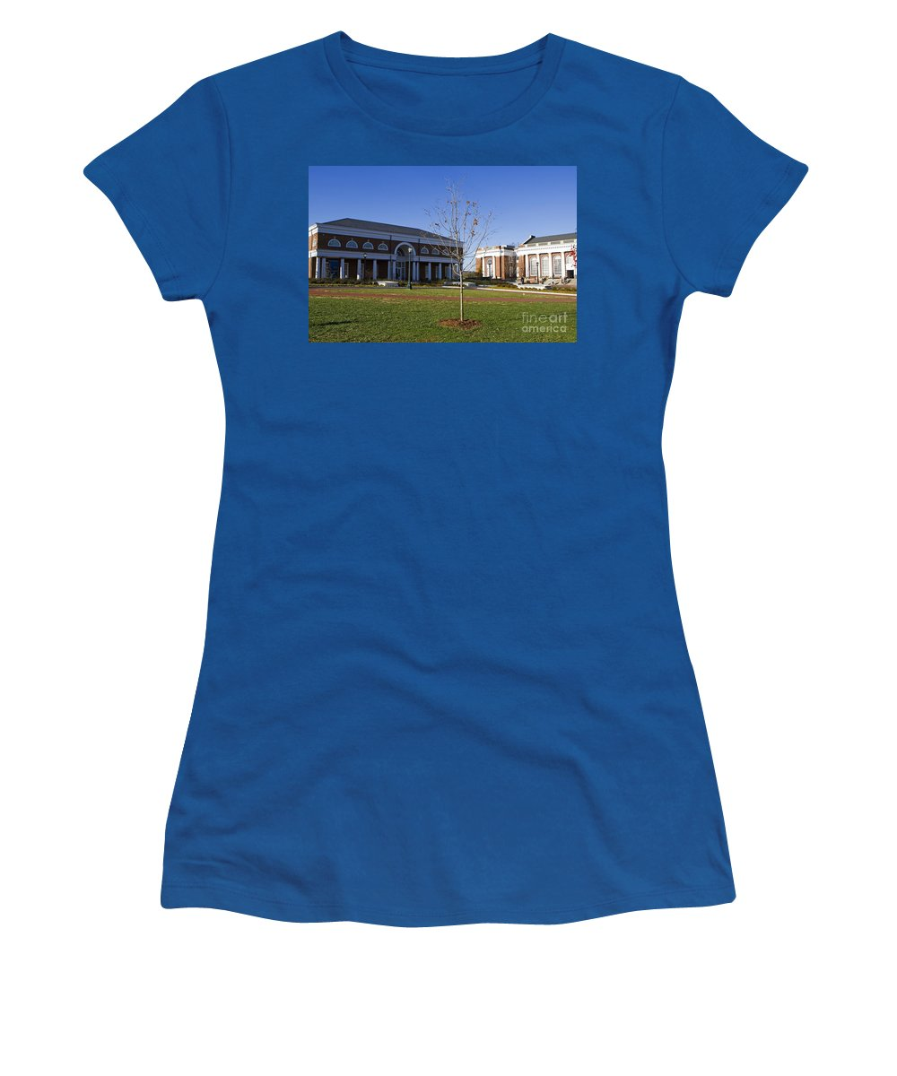 Special Collections Library Women's T-Shirt (Athletic Fit) featuring the photograph Special Collections Library And Alderman Library University Of Virginia by Jason O Watson