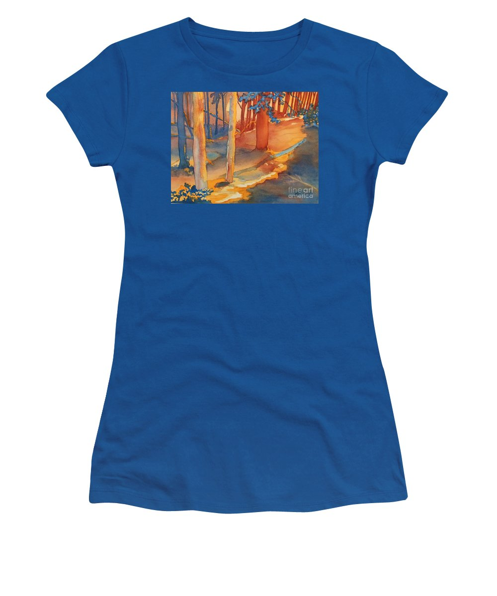 Spiritual Forest Women's T-Shirt featuring the painting Spiritual Forest by Lise PICHE