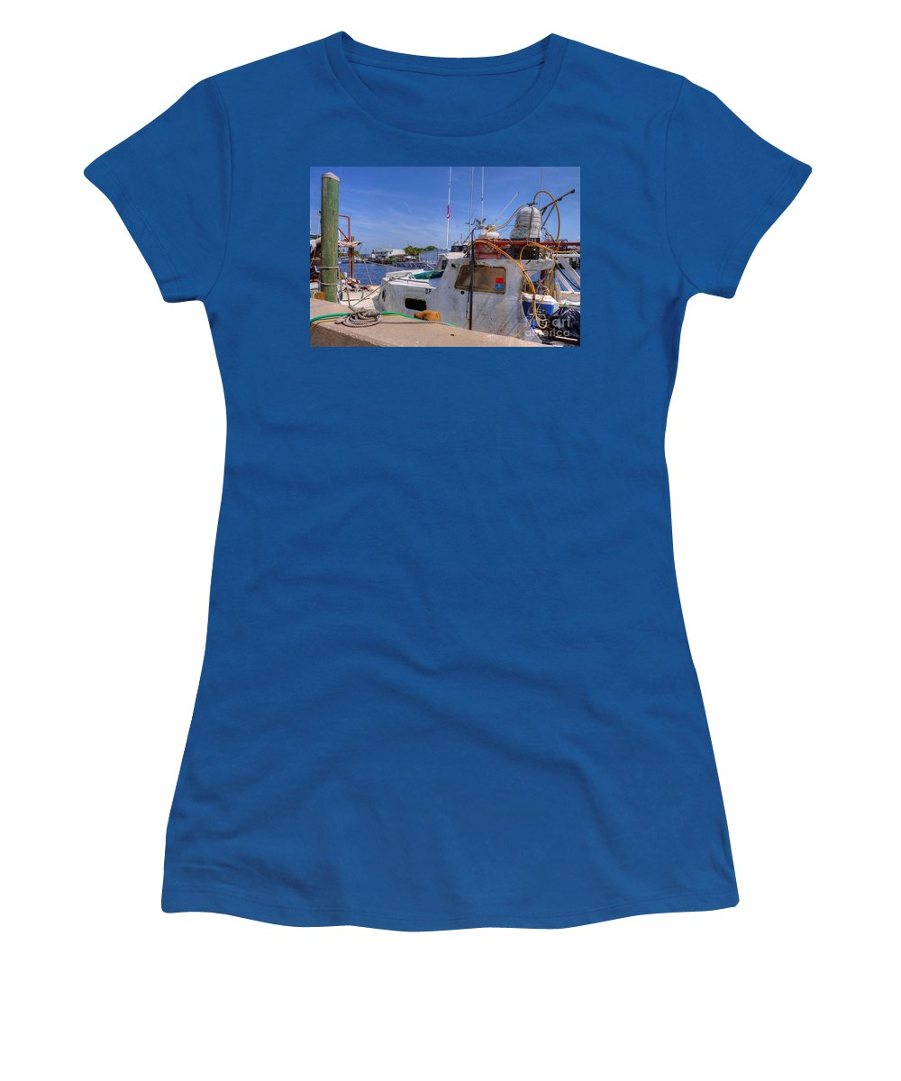 Sponge Boat Women's T-Shirt featuring the photograph Sponge Boat Docks by L Wright