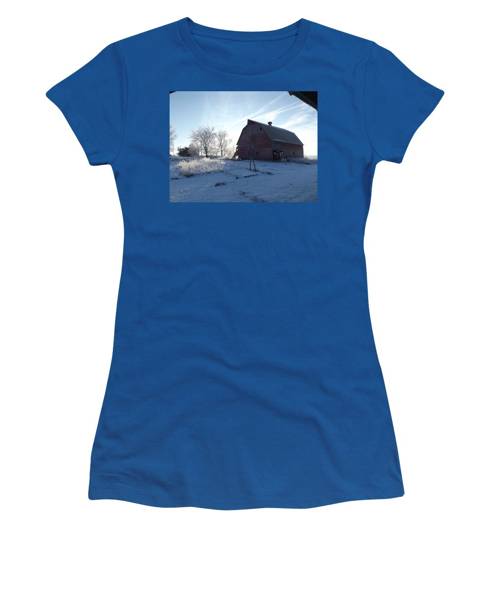 Frost Women's T-Shirt featuring the photograph Sun Barn by Bonfire Photography