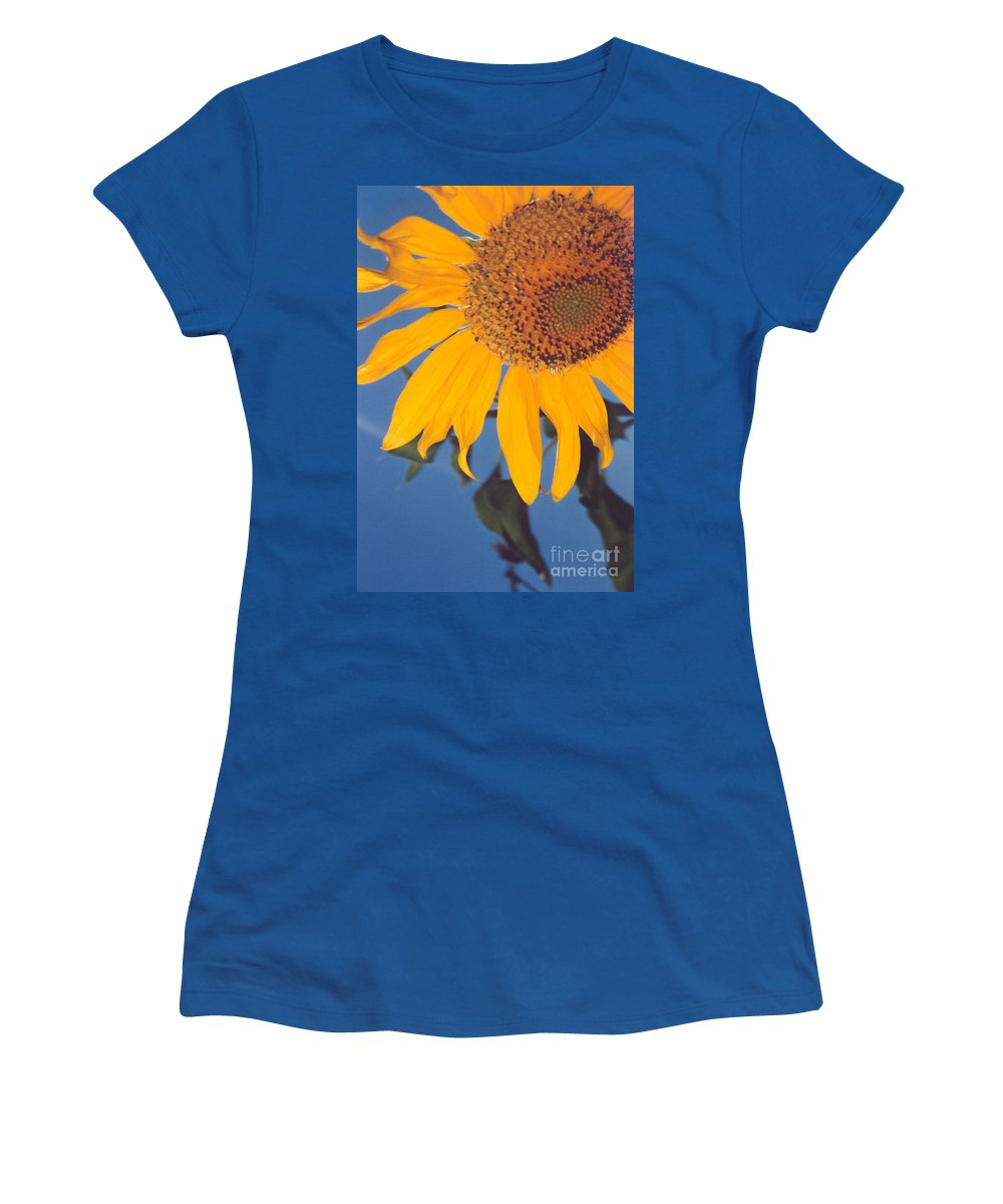 Flower Women's T-Shirt (Athletic Fit) featuring the photograph Sunflower In The Corner by Heather Kirk