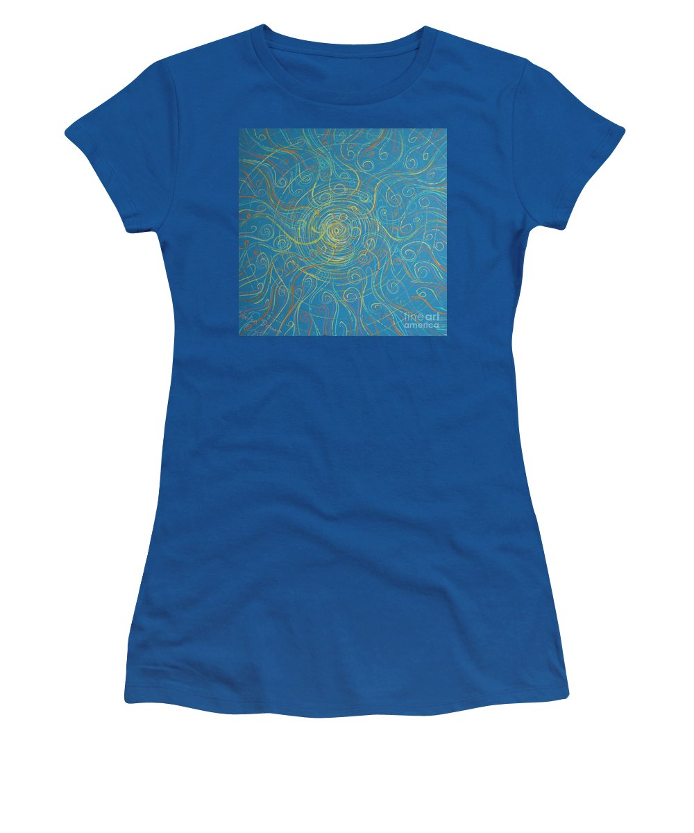 Impressionism Women's T-Shirt (Athletic Fit) featuring the painting Superstrings Of The Qark by Stefan Duncan