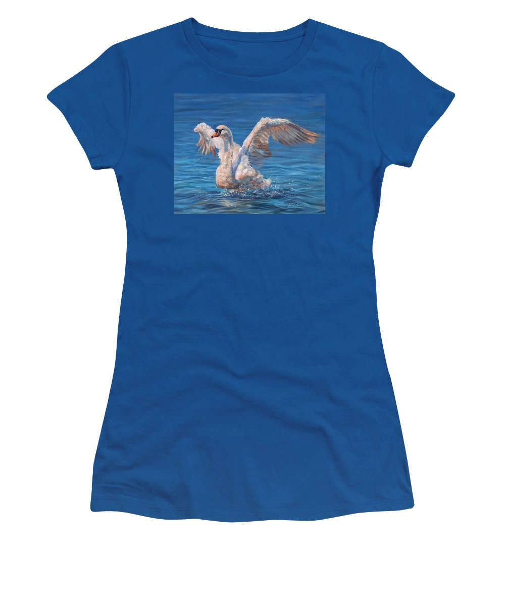 Swan Women's T-Shirt featuring the painting Swan by David Stribbling