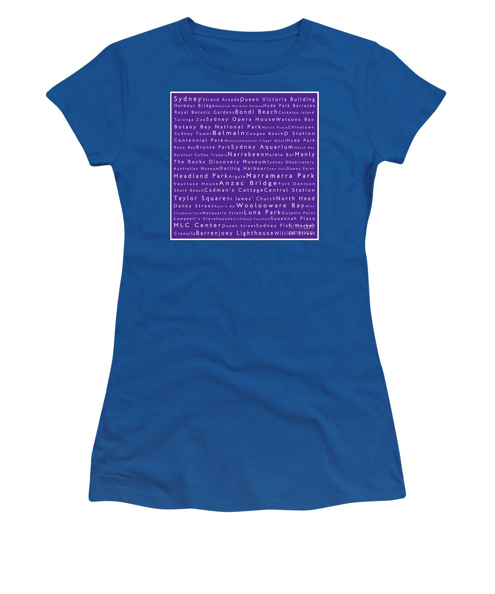 City Women's T-Shirt featuring the digital art Sydney In Words Purple by Sabine Jacobs