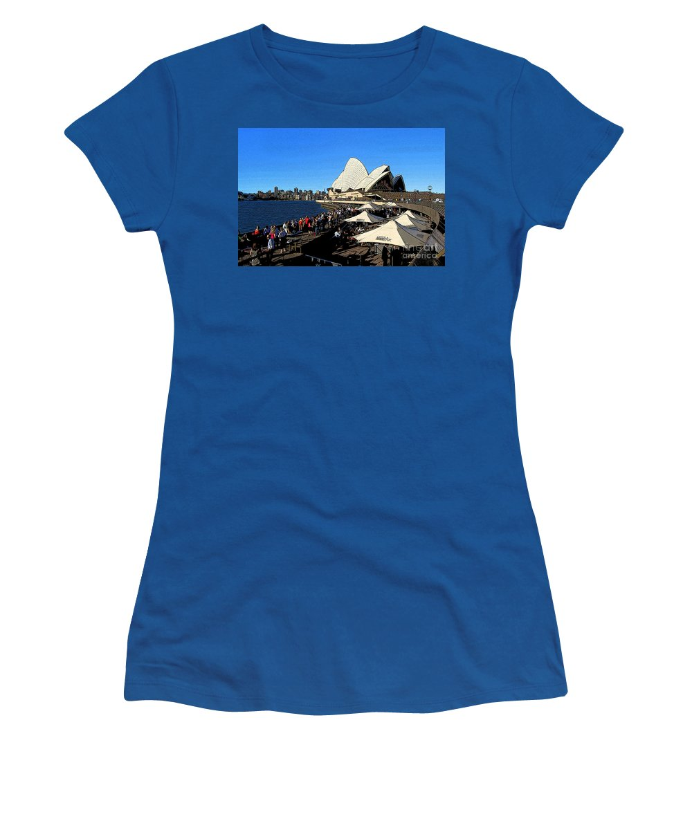 Sydney Opera House Bar Women's T-Shirt (Athletic Fit) featuring the photograph Sydney Opera House Bar by Catherine Sherman
