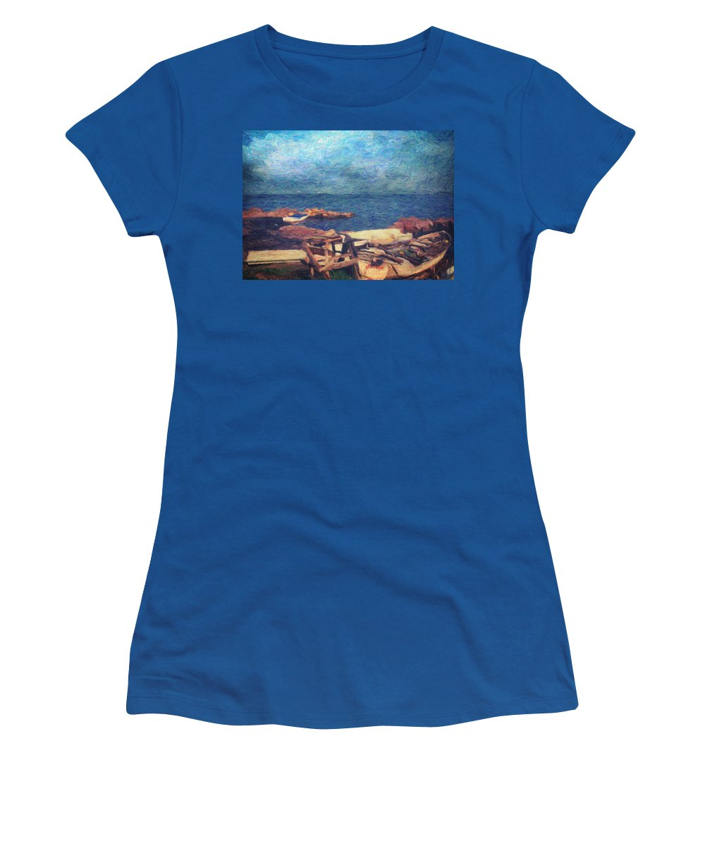 Oil Painting Women's T-Shirt featuring the painting Symphony Of Silence by Zapista Zapista