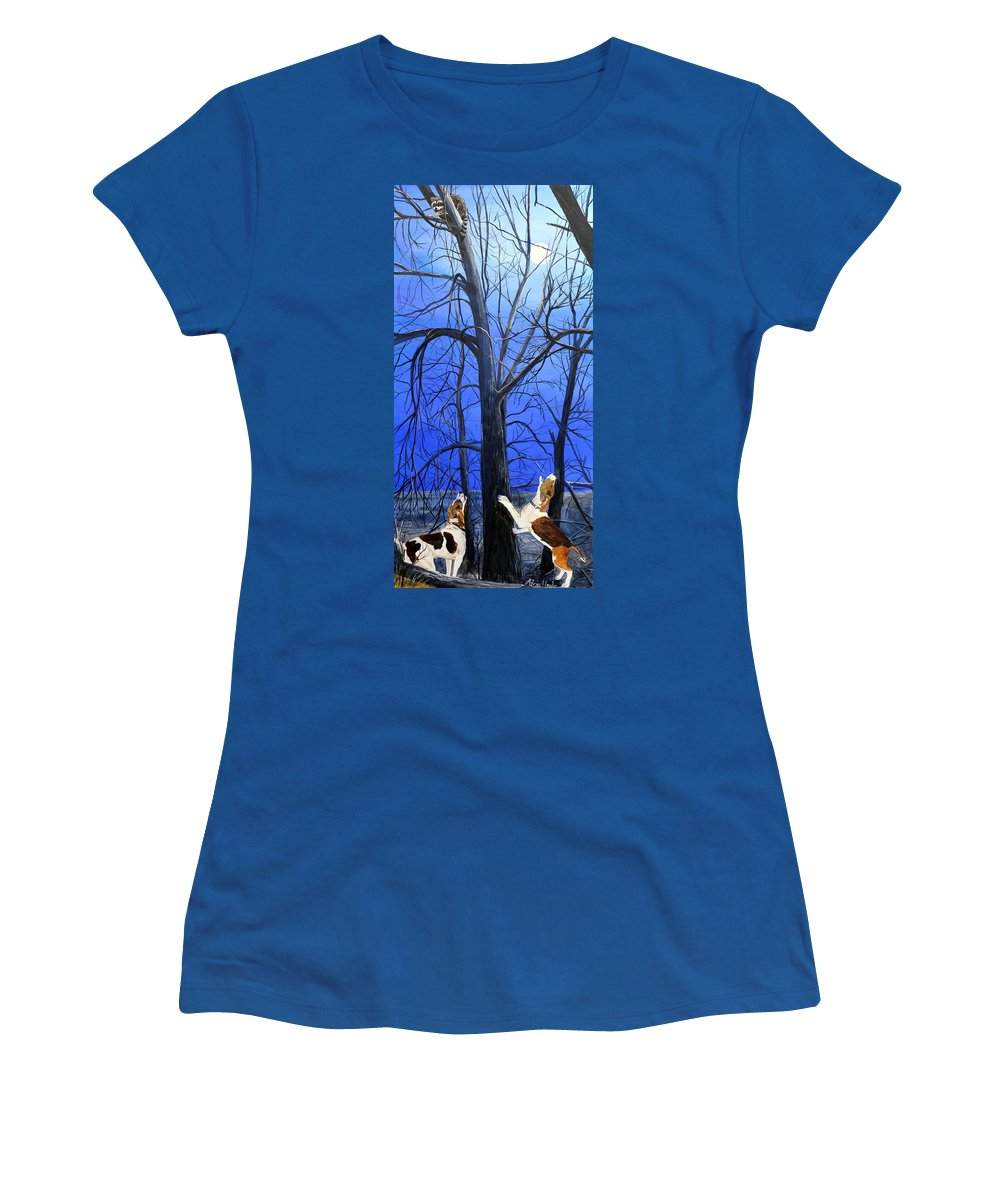 Raccoon Women's T-Shirt (Athletic Fit) featuring the painting Talk To Him Boys by Alvin Hepler