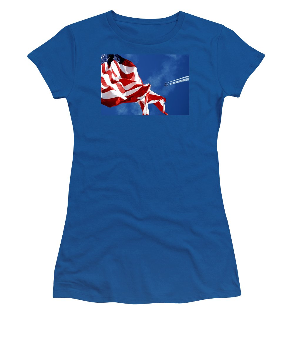 Navy Women's T-Shirt (Athletic Fit) featuring the photograph The Flag And The Blue Angels by Mountain Dreams
