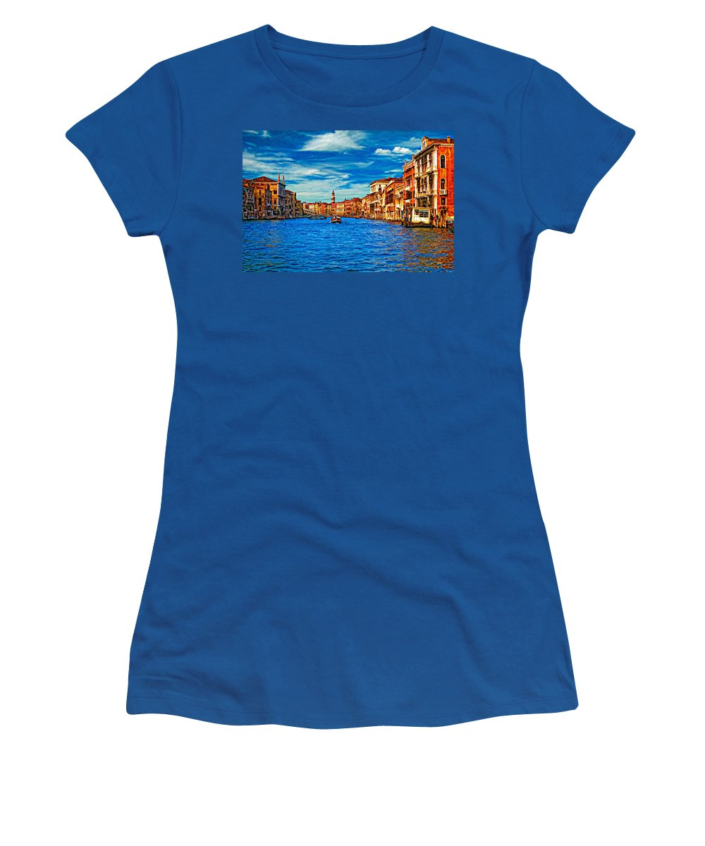 Venice Women's T-Shirt featuring the photograph The Grand Canal Impasto by Steve Harrington