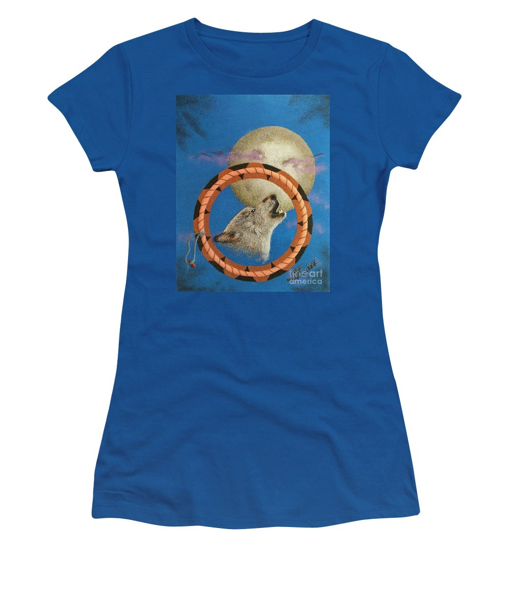 Wolf Women's T-Shirt featuring the mixed media The Great Teacher Wahya by Duane West