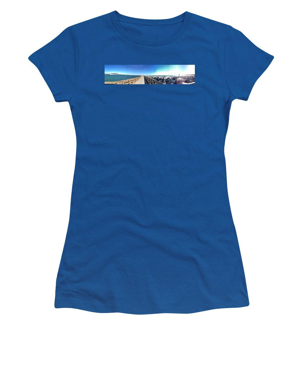 Port Women's T-Shirt (Athletic Fit) featuring the photograph The Ship Comes Into The Port by Donna Spencer