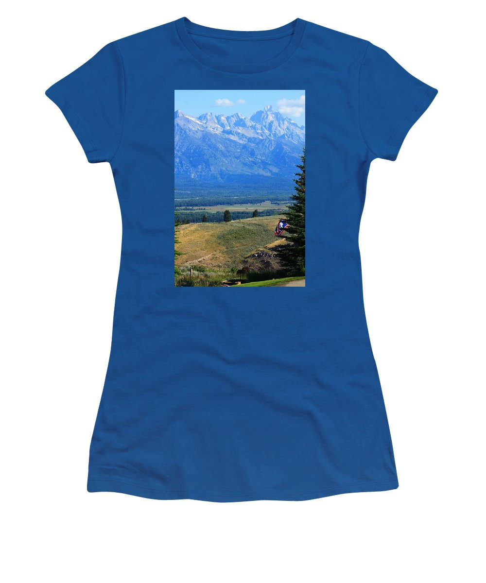 Grand Tetons Women's T-Shirt featuring the photograph The Wandering Moose by Catie Canetti