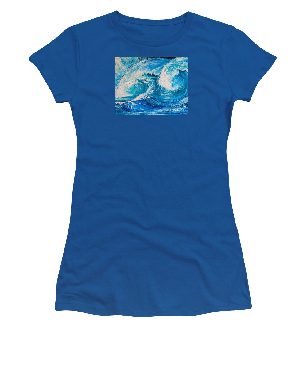 Waves Women's T-Shirt featuring the painting The Waves by Teresa Wegrzyn