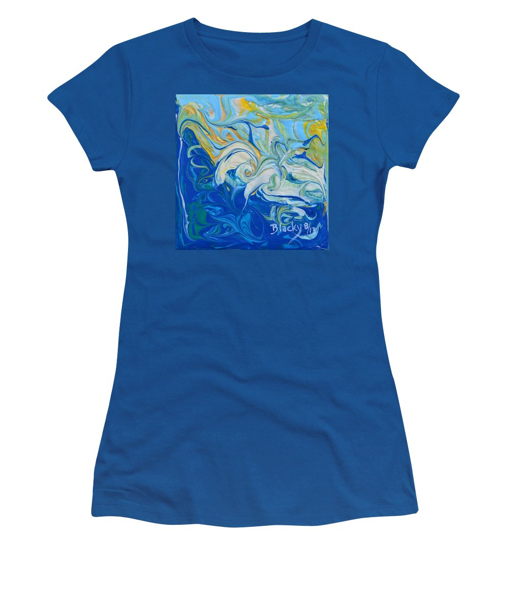 Waves Women's T-Shirt featuring the painting Tossed In The Waves by Donna Blackhall
