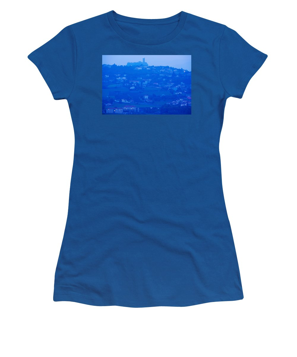 Photography Women's T-Shirt featuring the photograph Town With Chateau De Polignac by Panoramic Images