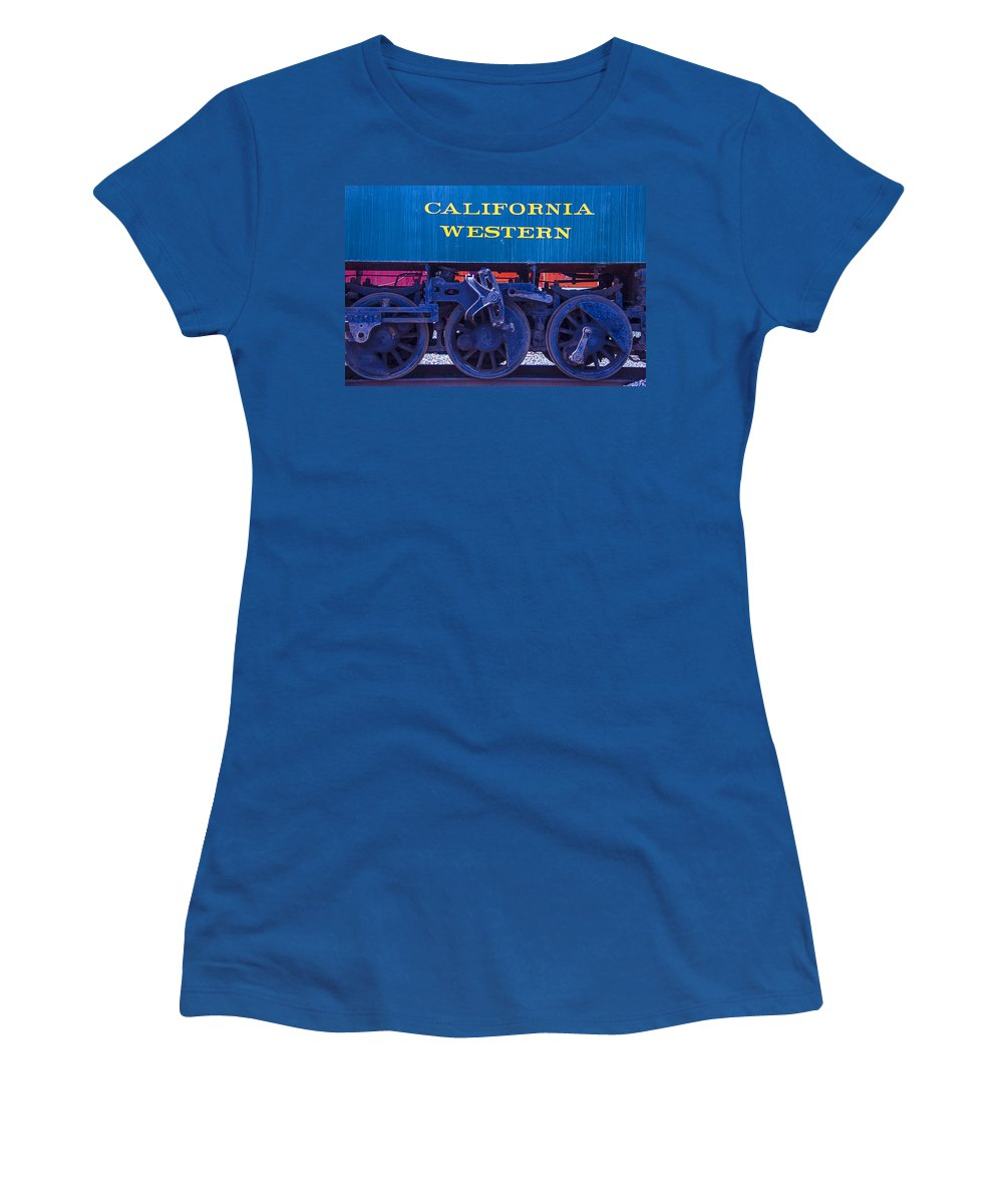California Western Women's T-Shirt featuring the photograph Train Wheels by Garry Gay