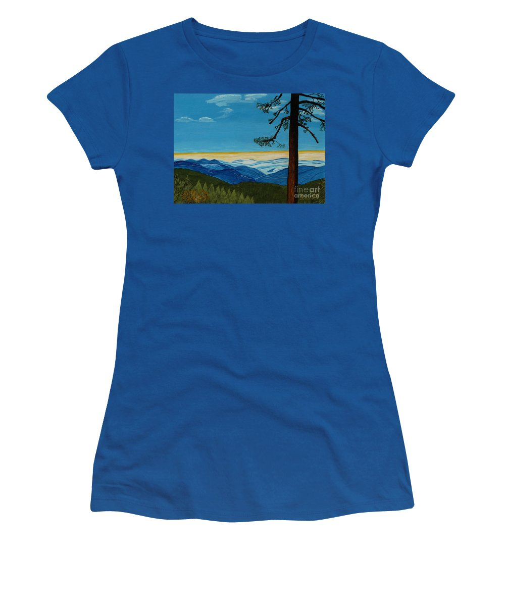 Mountain Women's T-Shirt featuring the painting Tranquil Solitude by Anthony Dunphy