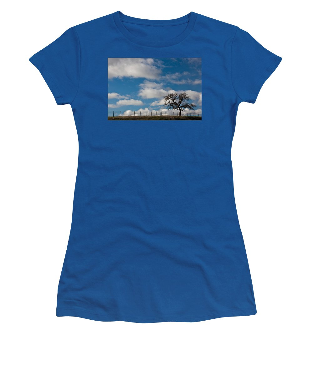 Photography Women's T-Shirt featuring the photograph Tree And Fence On A Landscape, Santa by Panoramic Images