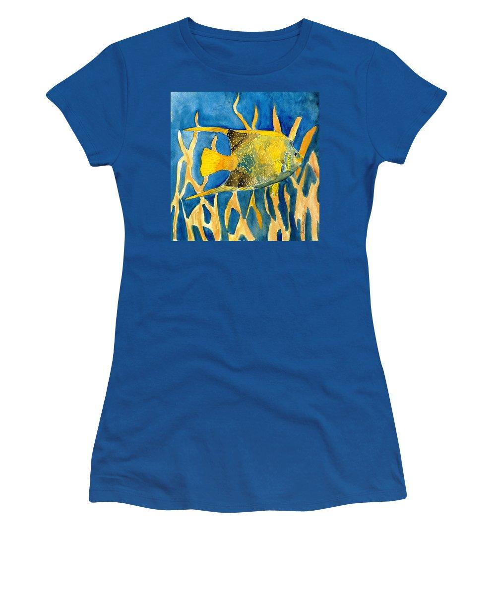 Tropical Women's T-Shirt featuring the painting Tropical Fish Art Print by Derek Mccrea
