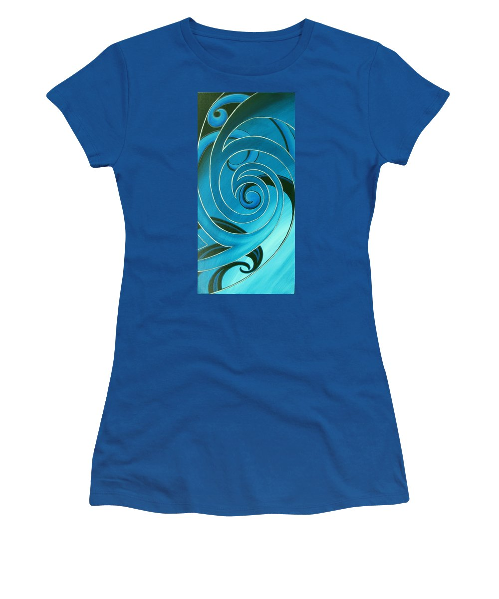 Reina Cottier Women's T-Shirt featuring the painting Turquoise Glass Koru by Reina Cottier