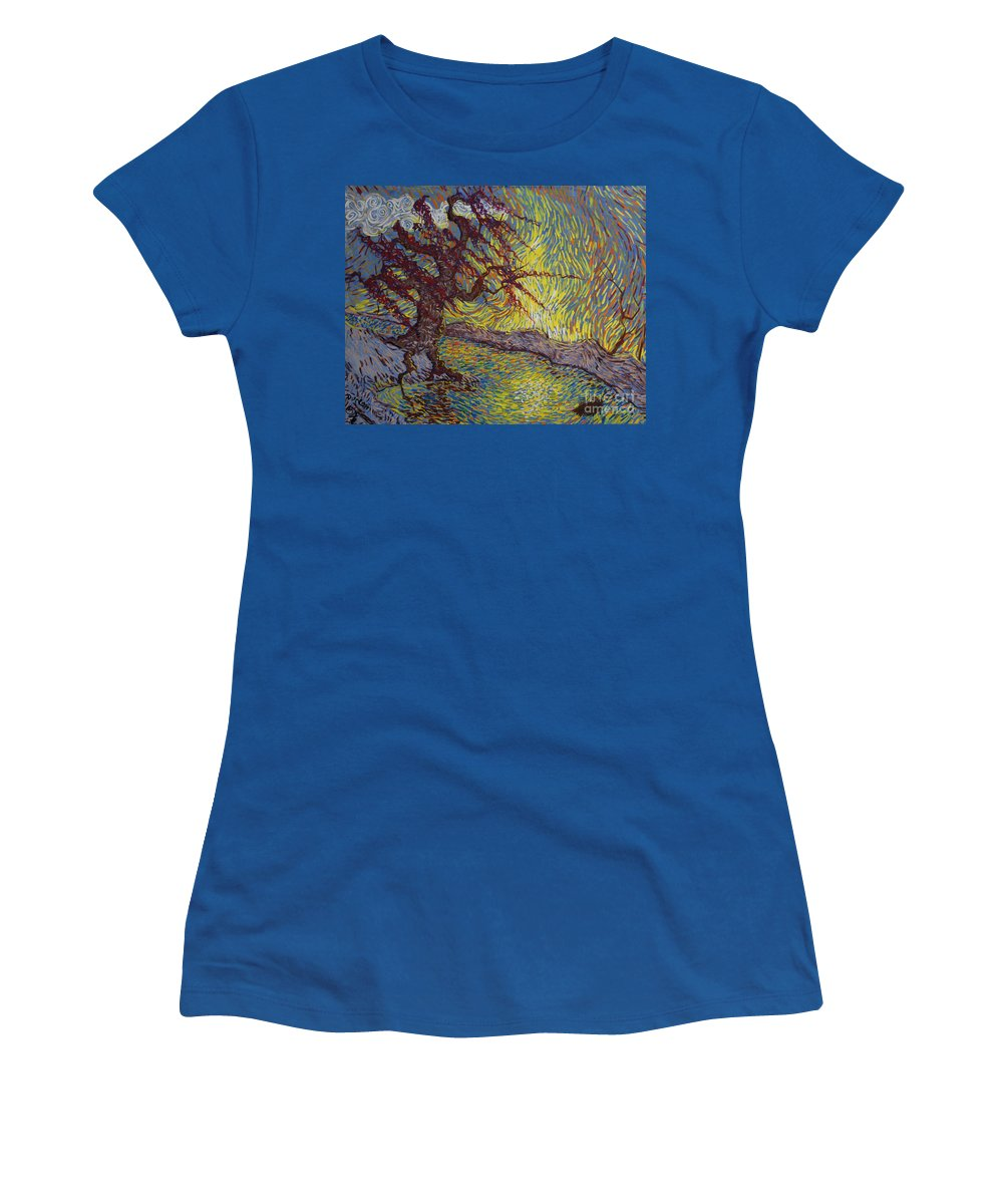 Landscape Women's T-Shirt (Athletic Fit) featuring the painting Two Turtles On A Stump by Stefan Duncan