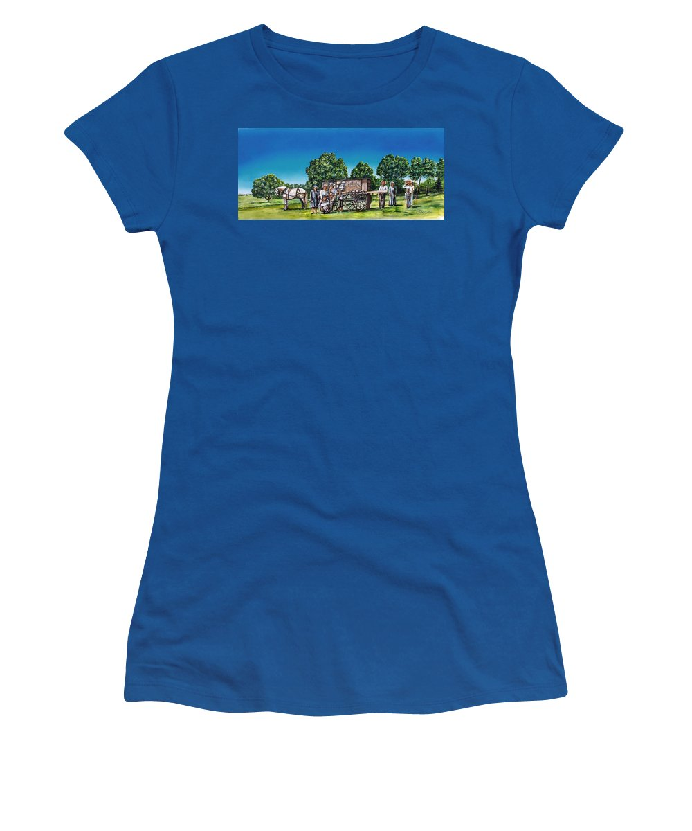 Historic Painting Women's T-Shirt featuring the painting U. G. Earp And Family by Todd Spaur
