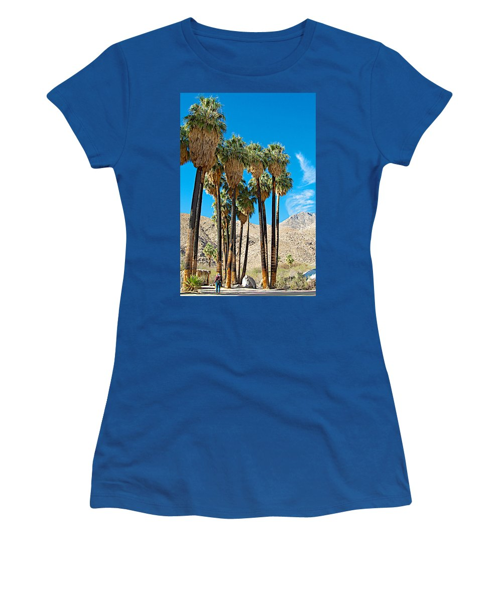 Very Tall Fan Palms In Andreas Canyon In Indian Canyons Women's T-Shirt featuring the photograph Very Tall Fan Palms In Andreas Canyon In Indian Canyons-ca by Ruth Hager