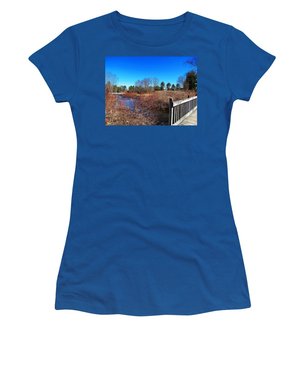 Ash Brook Women's T-Shirt featuring the photograph Walking The Bridge by MTBobbins Photography