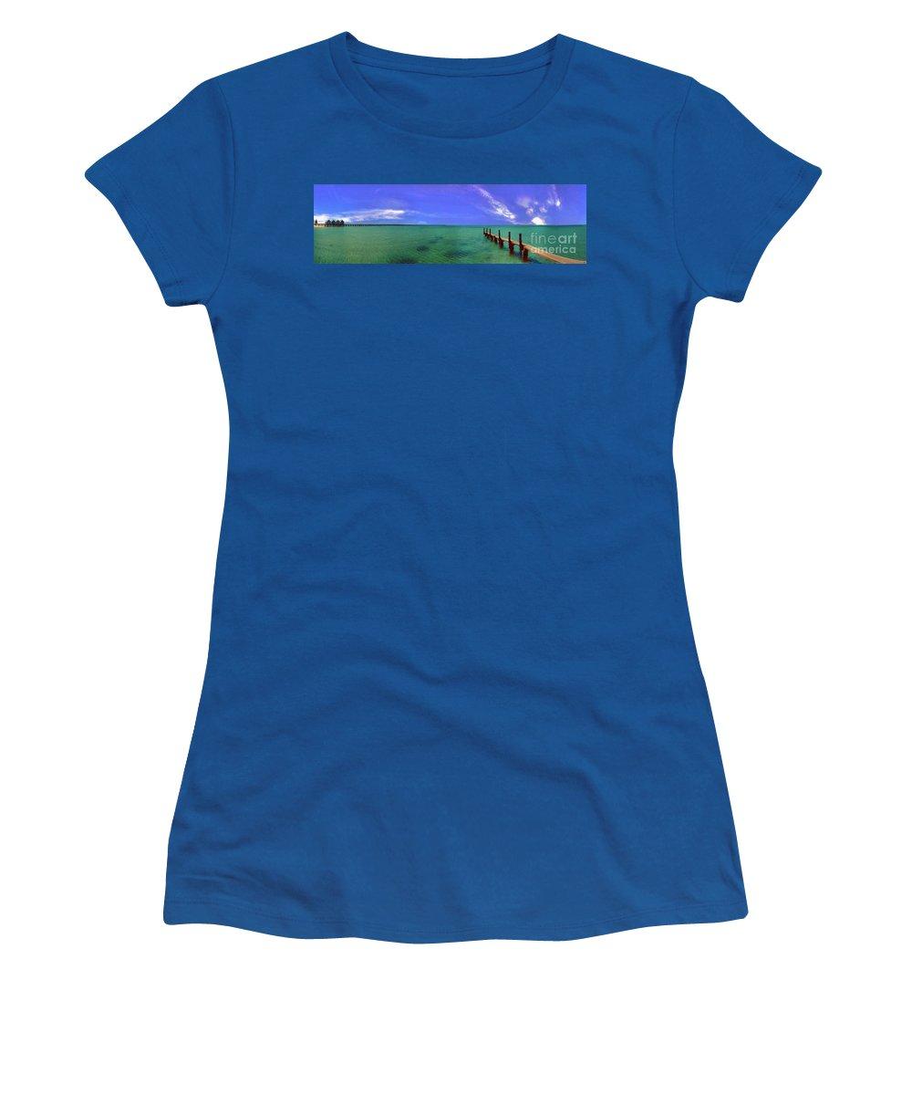 Western Australia; Beach Perth Panorama; Margaret River; Southern Hemisphere; Longest Wooden Jetty Women's T-Shirt (Athletic Fit) featuring the photograph Western Australia Busselton Jetty by David Zanzinger
