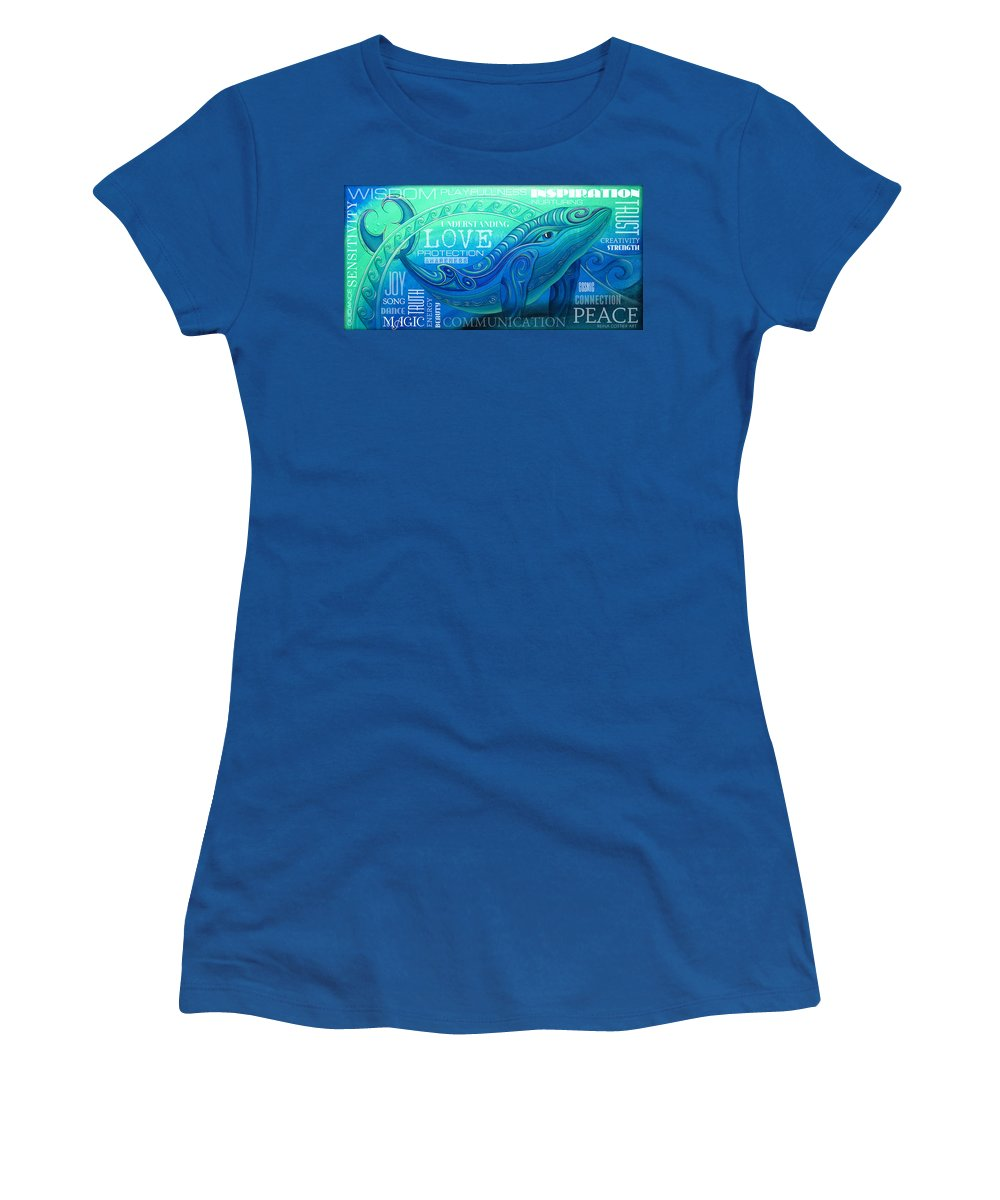 Whale Women's T-Shirt featuring the painting Whale Totem Wordart by Reina Cottier