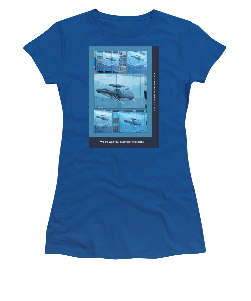Wyland Women's T-Shirt featuring the photograph Whaling Wall 42 - East Coast Humpbacks - Original Painting By Wyland by Mother Nature