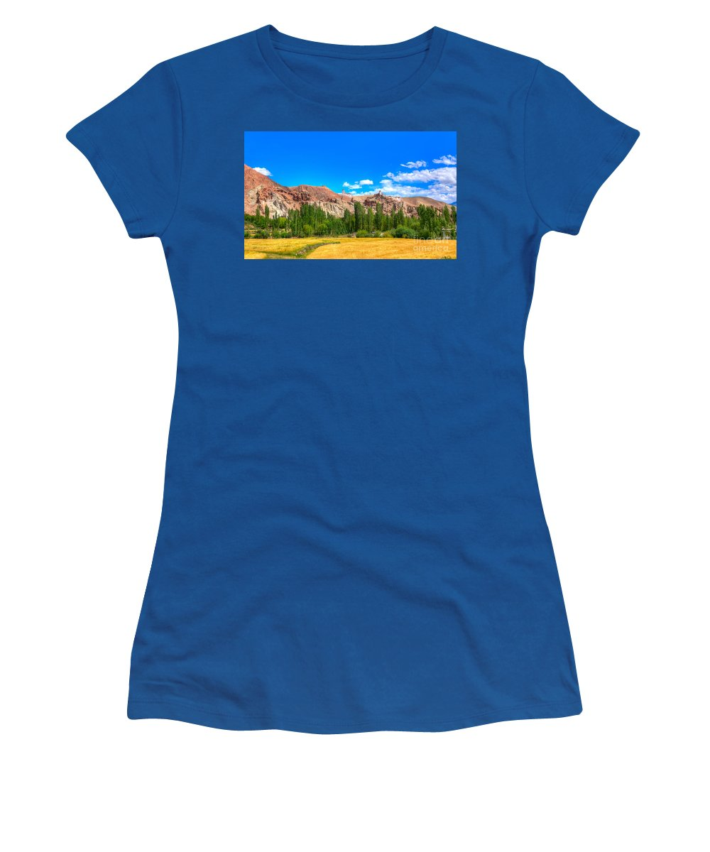 Yellow Women's T-Shirt (Athletic Fit) featuring the photograph Wheat Farming At Basgo Ladakh by Rudra Narayan Mitra