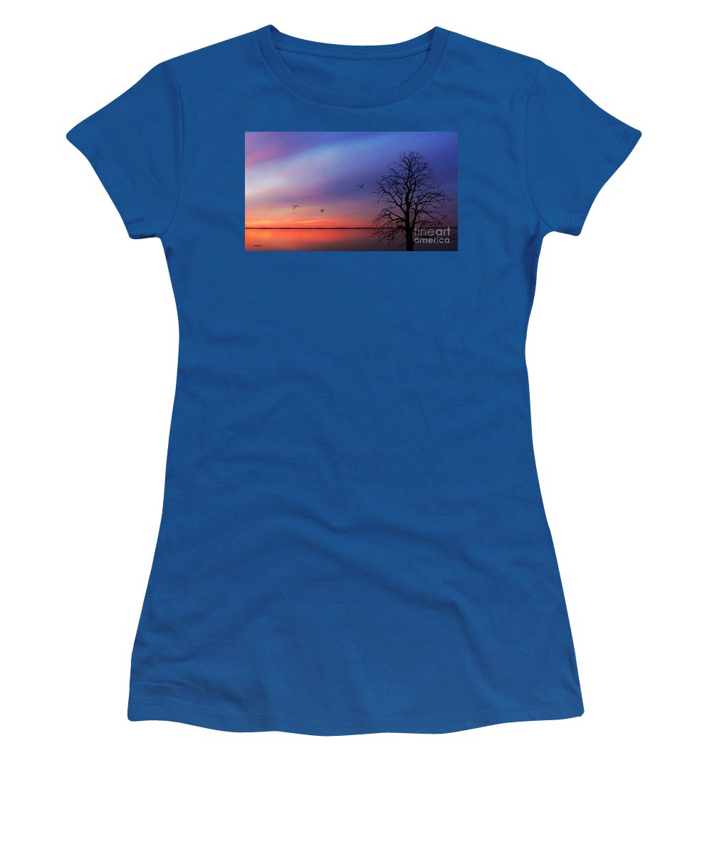 Landscape Women's T-Shirt featuring the photograph When Day Kisses Night by Betty LaRue