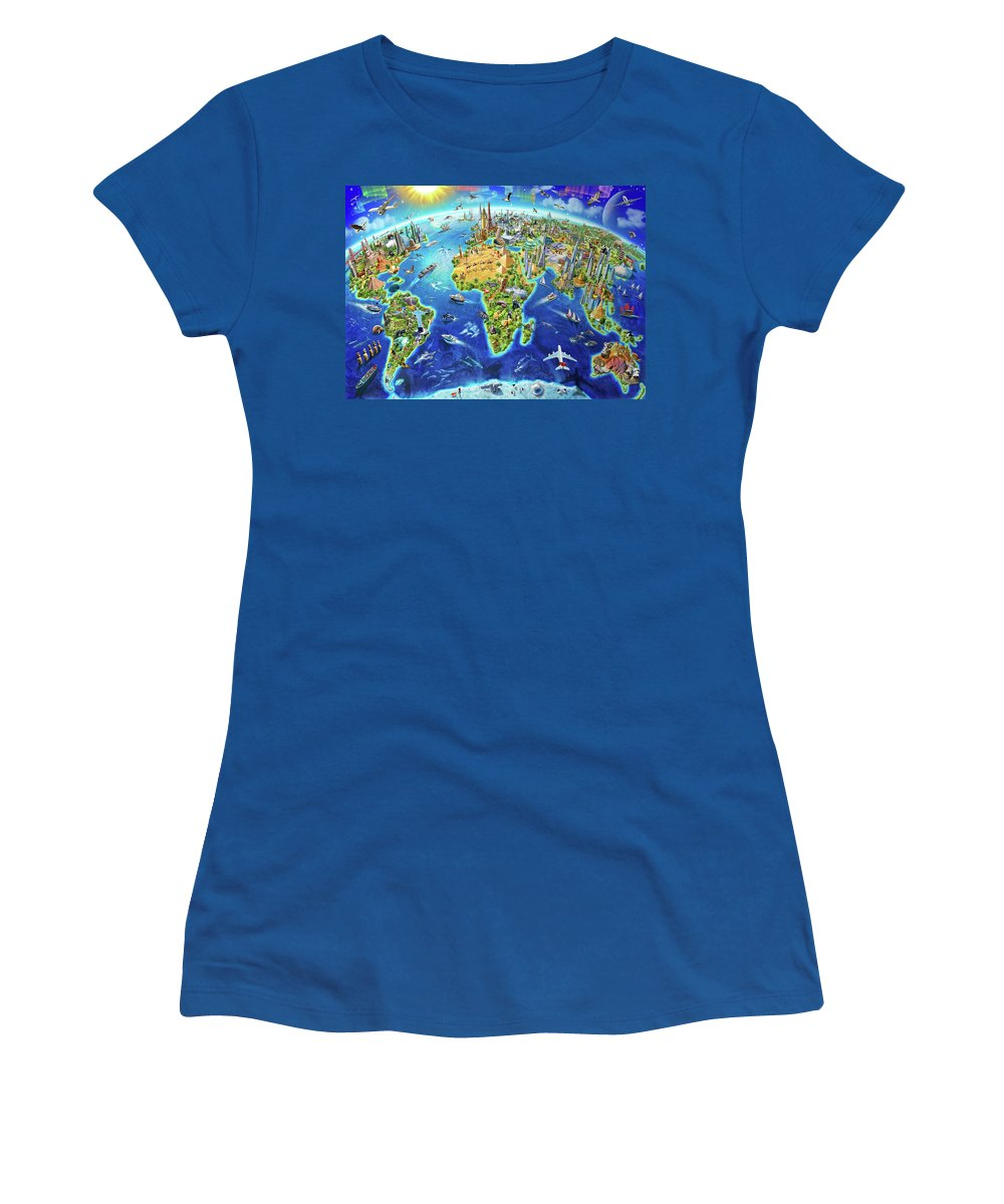 Adrian Chesterman Women's T-Shirt featuring the drawing World Landmarks Globe by MGL Meiklejohn Graphics Licensing