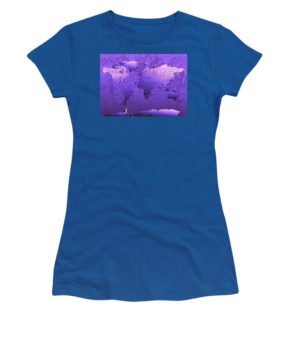 Map Of The World Women's T-Shirt (Athletic Fit) featuring the painting World Map In Purple by Bekim Art