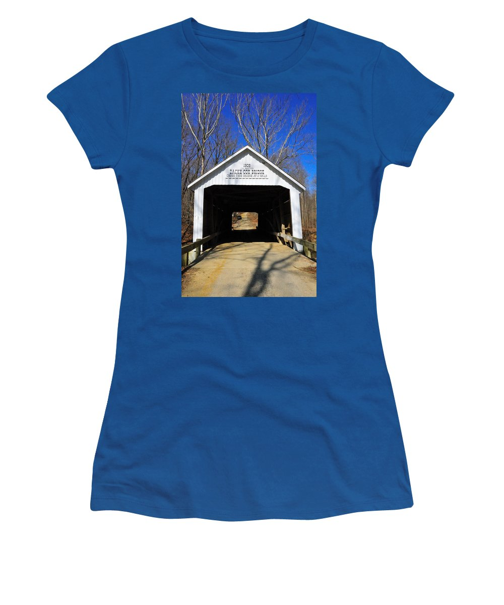 Zacke Cox Women's T-Shirt featuring the photograph Zacke Cox Covered Bridge by David Arment