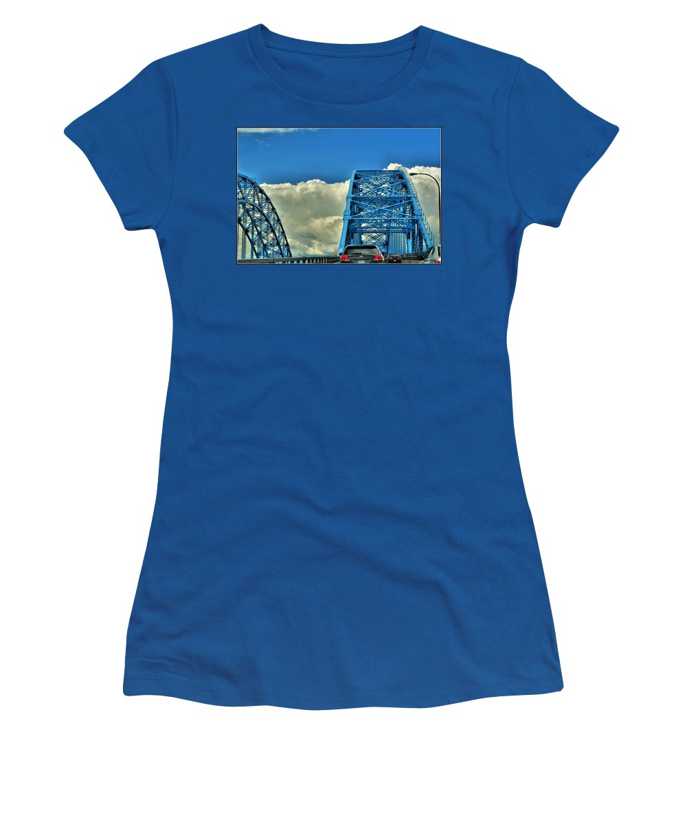 Women's T-Shirt featuring the photograph 006 Grand Island Bridge Series by Michael Frank Jr