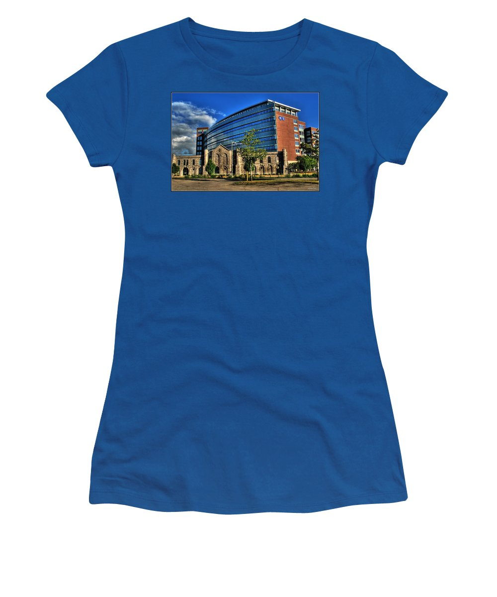 Women's T-Shirt featuring the photograph 017 Wakening Architectural Dynamics by Michael Frank Jr