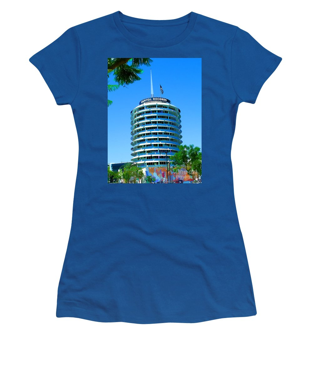 Hollywood Blvd And Vine Street California Hollywood And Vine Women's T-Shirt featuring the painting Capital Records Hollywood by RJ Aguilar