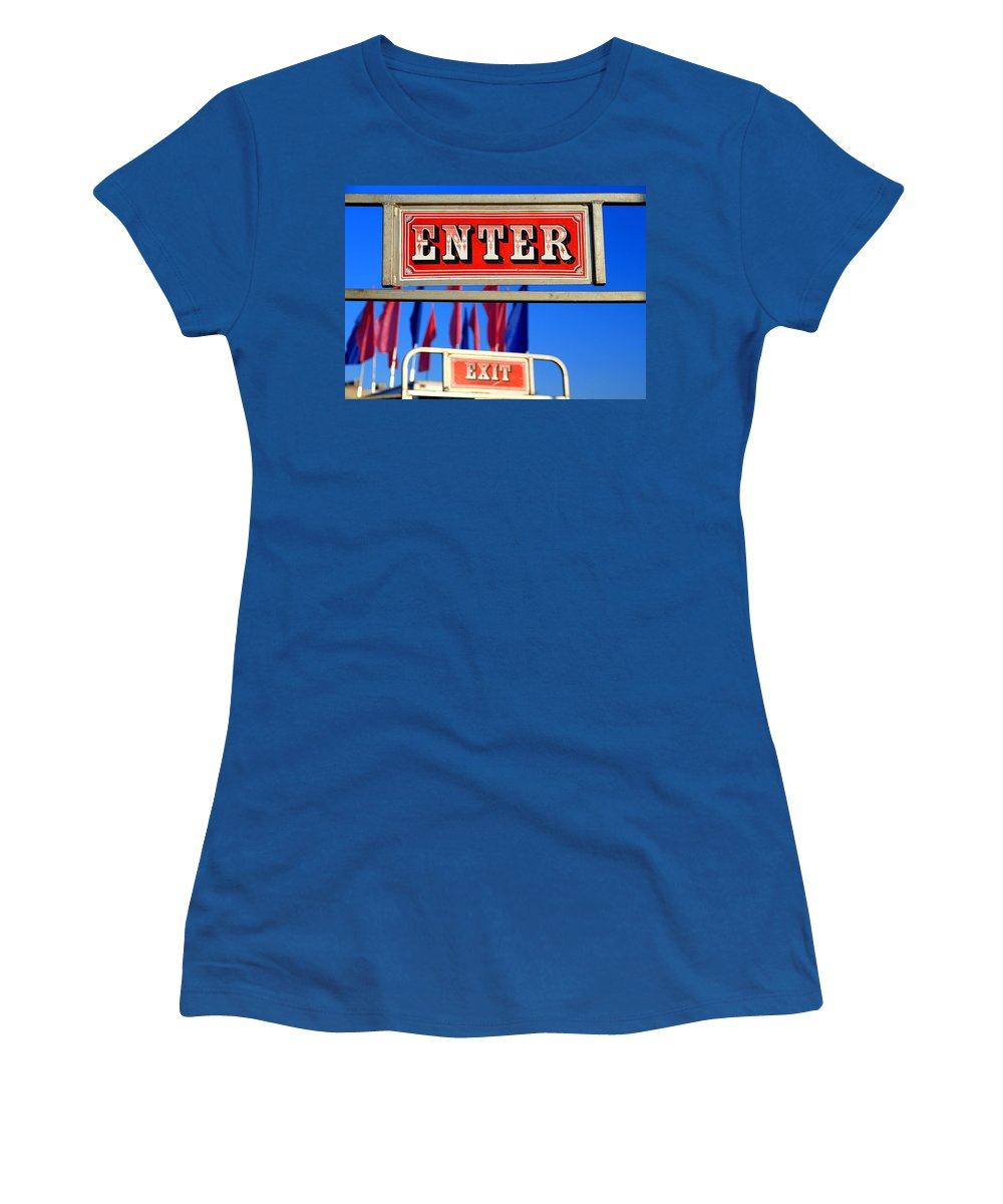 Sign Women's T-Shirt featuring the photograph Enter And Exit Signs by Valentino Visentini
