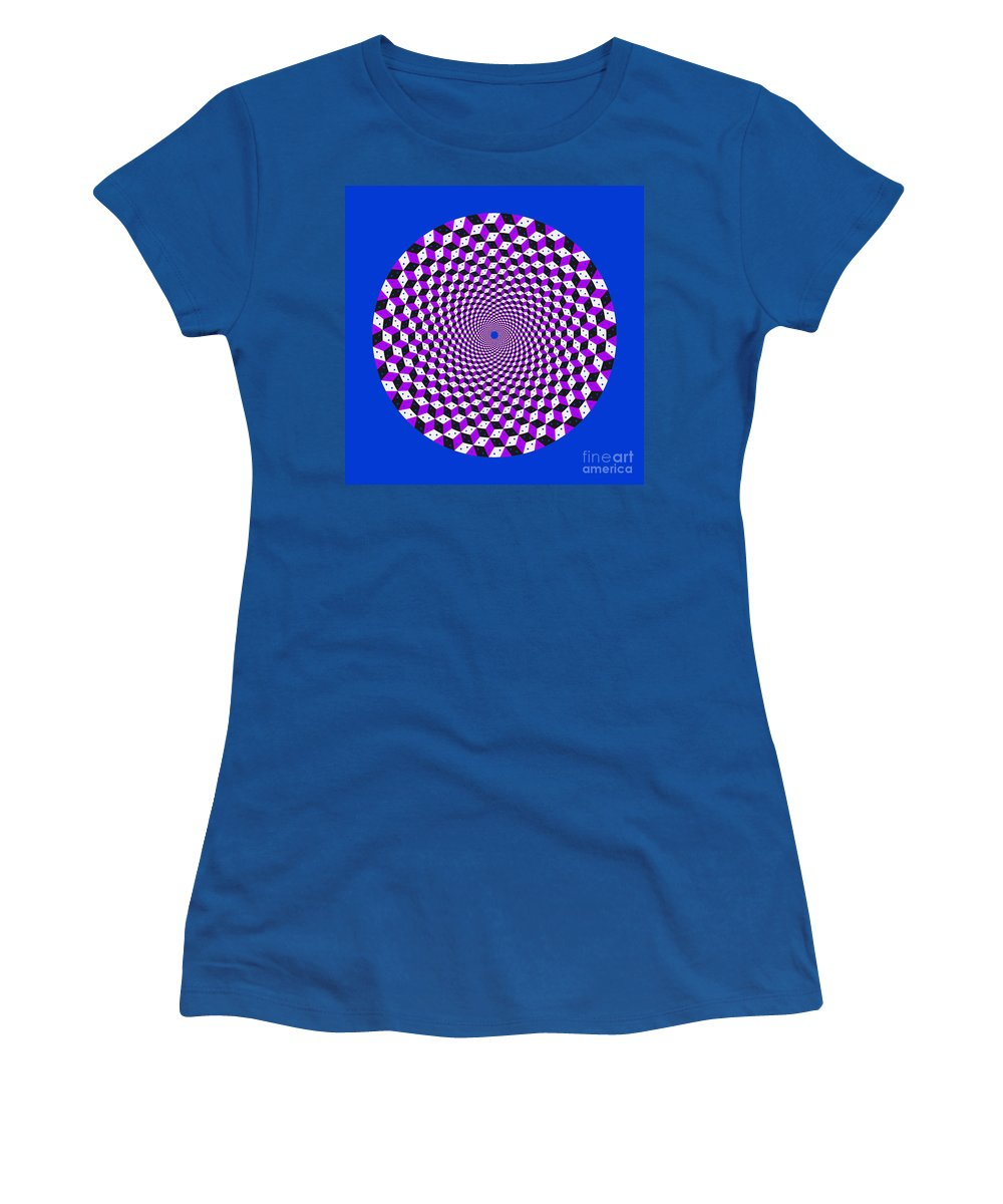 Mandala Women's T-Shirt featuring the digital art Mandala Figure Number 5 With Rhombus Steps In Black And White And Purple by Marcus West